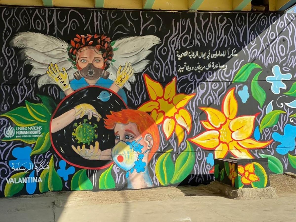 evocative murals on COVID-19