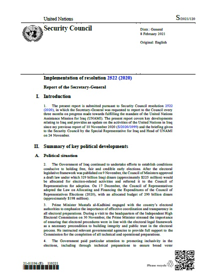 Report of the Secretary-General S/2021/120