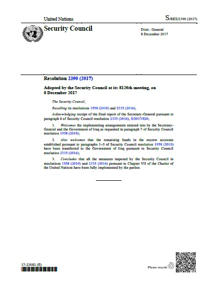 Security Council Resolution 2390 (2017)