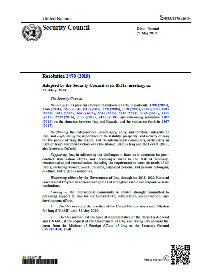 Security Council Resolution 2470 (2019)