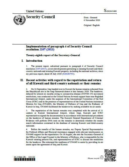 Report of the Secretary-General S/2020/1089   RSG