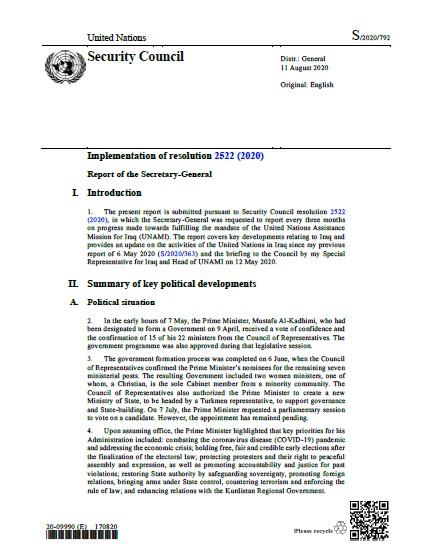 Report of the Secretary-General S/2020/792   RSG