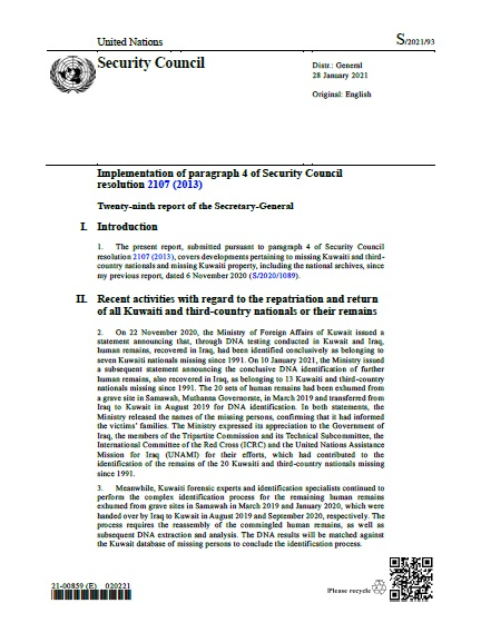 Report of the Secretary-General S/2021/93   RSG