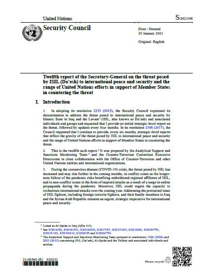 Report of the Secretary-General S/2021/98   RSG