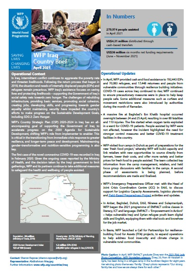 WFP Iraq Country Brief, April 2021