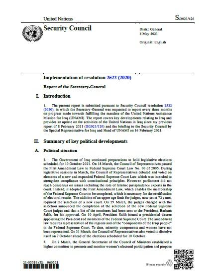 Report of the Secretary-General S/2021/426   RSG