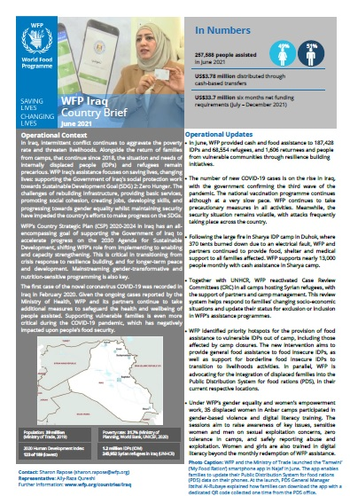 WFP Iraq Country Brief, June 2021