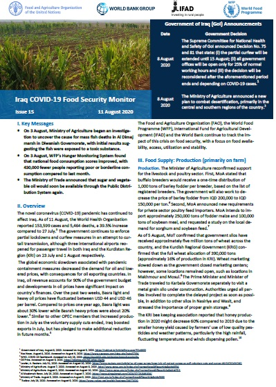 Iraq COVID-19 Food Security Monitor Bi-Weekly Update - Issue 15, 11 August 2020