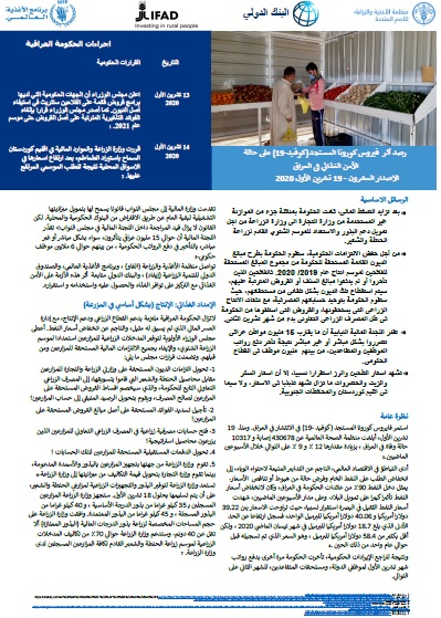 Iraq COVID-19 Food Security Monitor Bi-Weekly Update - Issue 20, 19 October 2020