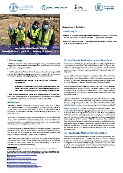 Iraq COVID-19 Food Security Monitor Bi-Weekly Update - Issue 29, 25 February 2021