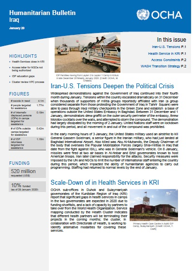 Iraq Humanitarian Bulletin, January 2020 | OCHA