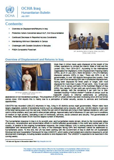 Iraq: Humanitarian Bulletin, July 2021
