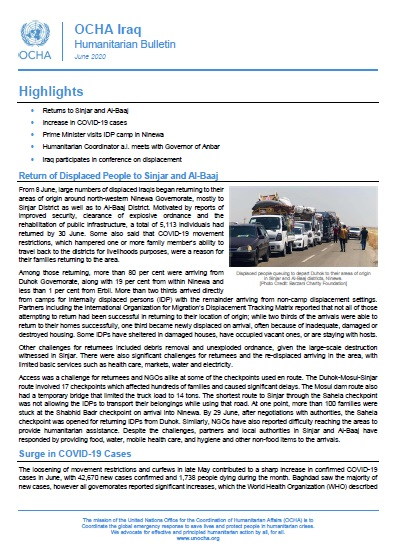 Iraq Humanitarian Bulletin, June 2020 | OCHA