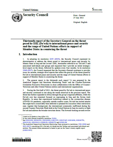 Report of the Secretary-General S/2021/682   RSG