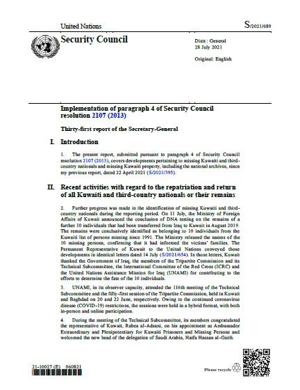 Report of the Secretary-General S/2021/689   RSG