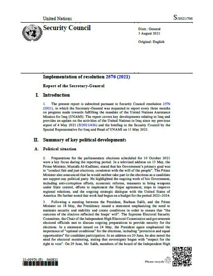 Report of the Secretary-General S/2021/700   RSG