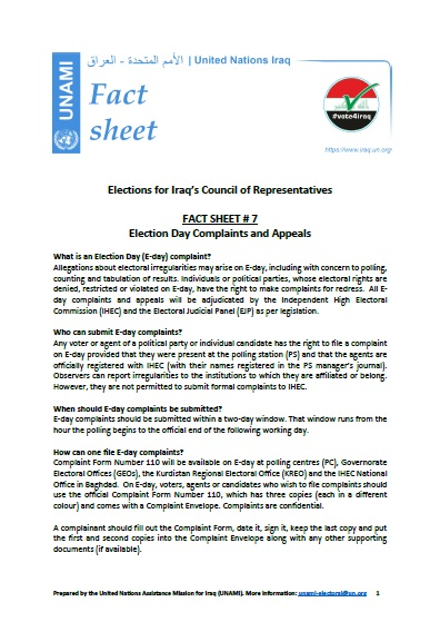 Election Day Complaints and Appeals | FACT SHEET # 7 | Iraq Elections 2021