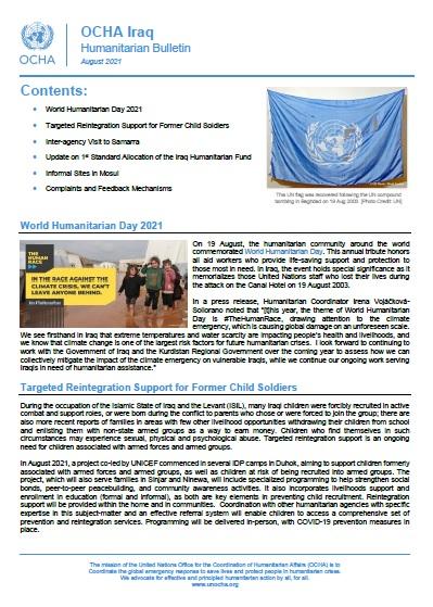 Iraq Humanitarian Bulletin, August 2021 | OCHA