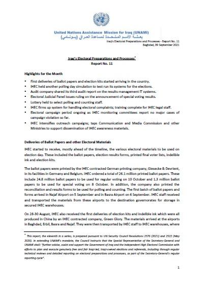 Iraq's Electoral Preparations and Processes - Report No. 11 | ElecRep