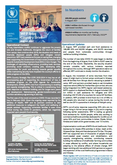 WFP Iraq Country Brief, August 2021