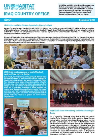 UN-Habitat Newsletter ISSUE 9 | September 2021
