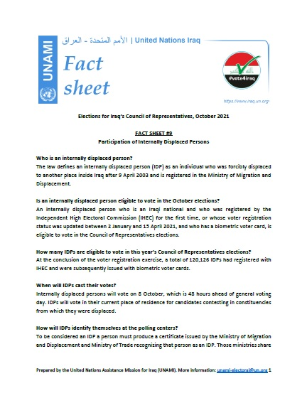 Participation of Internally Displaced Persons | FACT SHEET # 9 | Iraq Elections 2021
